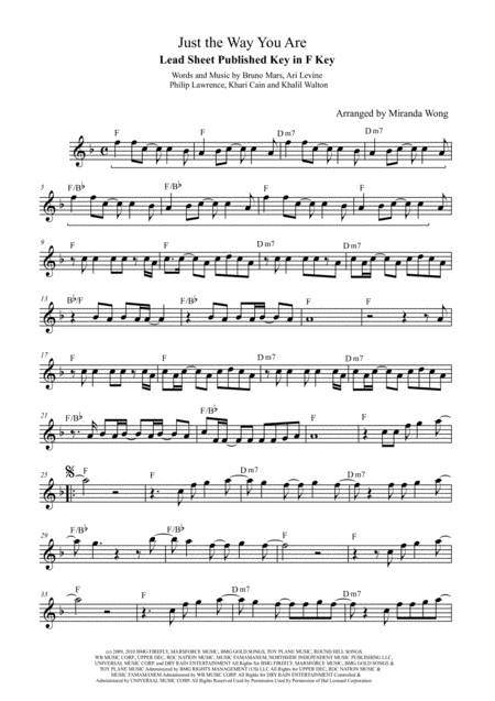Just The Way You Are - Violin or Flute Solo (With Chords)