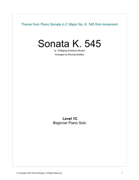 Mozart Sonata K. 545 Theme Easy Piano