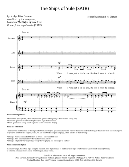 The Ships of Yule (SATB)