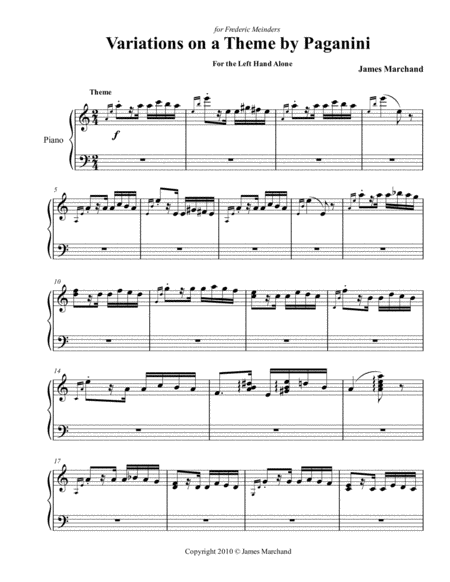 Paganini Variations for the left hand alone