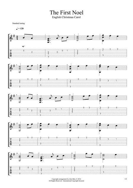 The First Noel (Classical and Acoustic Guitar Arrangement)