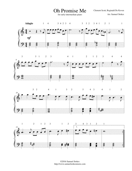 Oh Promise Me - for early-intermediate piano