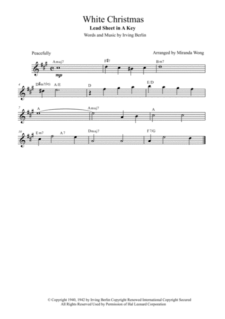 White Christmas - Lead Sheet in A Key (With Chords)