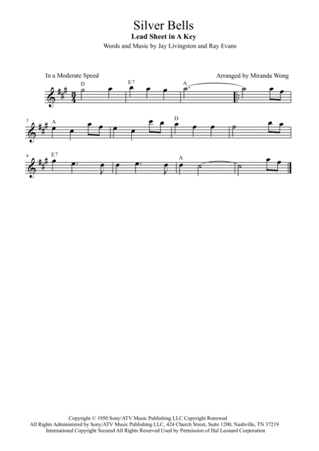 Silver Bells - Lead Sheet in A Key (With Chords)