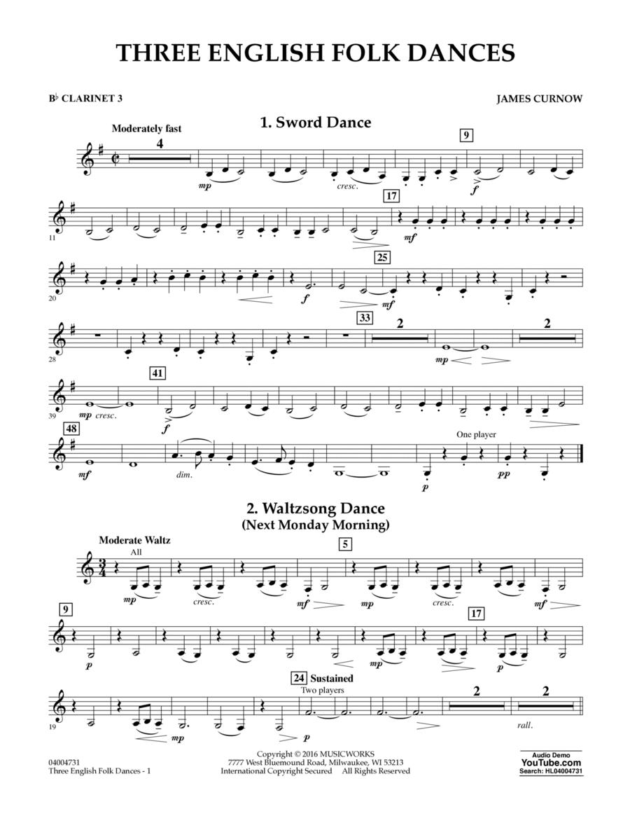 Three English Folk Dances - Bb Clarinet 3