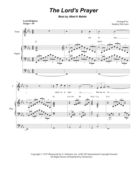 The Lord's Prayer (Duet for Soprano & Tenor Solo - High Key - Organ)