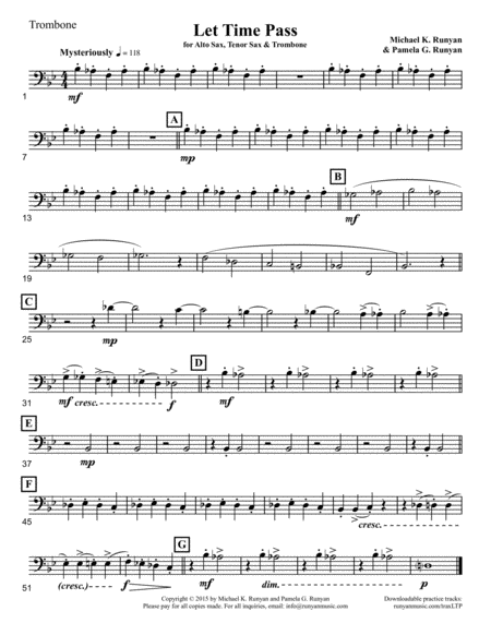 Let Time Pass, for Alto Sax, Tenor Sax & Trombone  (Trombone part only)