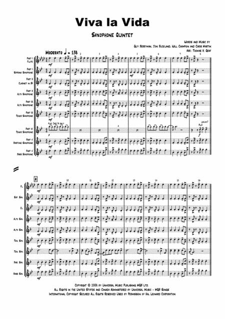 Viva la Vida - Cold Play - Saxophone Quintet