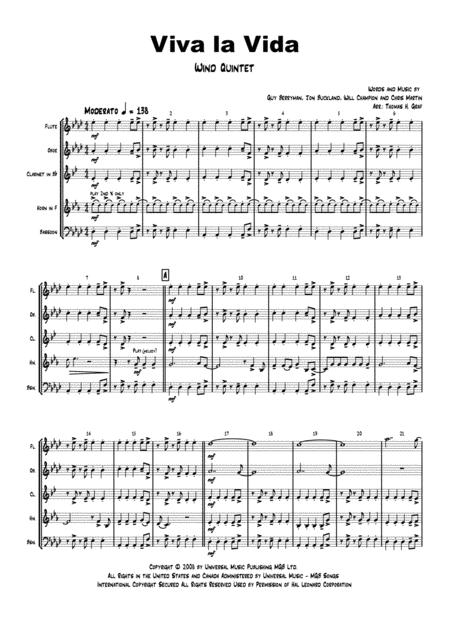 Viva la Vida - Cold Play - Wind Quintet