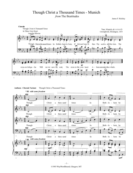 Though Christ A Thousand Times (Munich) - Anthem - Chorale Variant