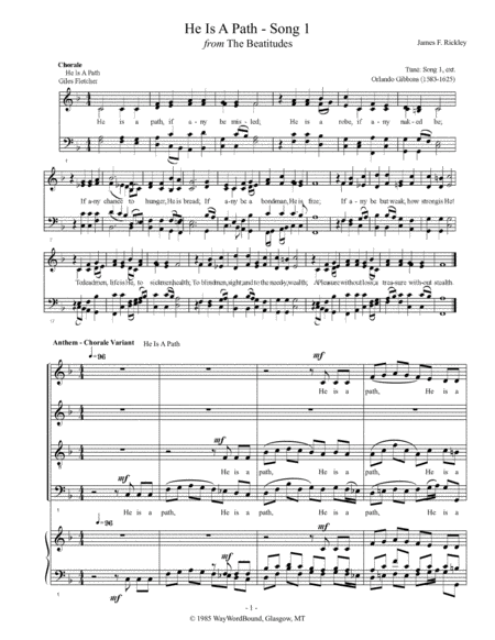 He Is A Path (Song 1) - Anthem - Chorale Variant