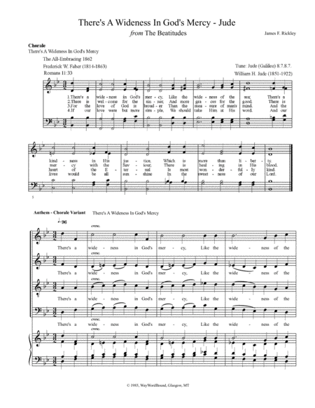 There's A Wideness In God's Mercy (Jude) - Anthem - Chorale Variant