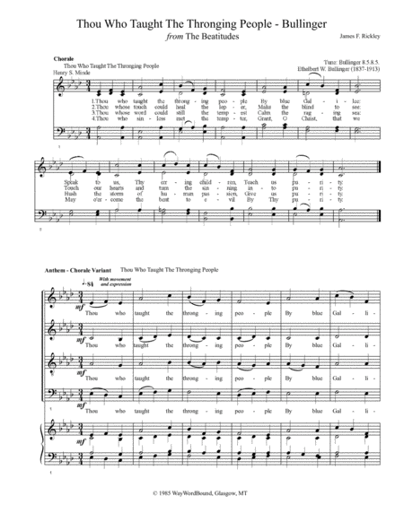 Thou Who Taught The Thronging People (Bullinger) - Anthem - Chorale Variant