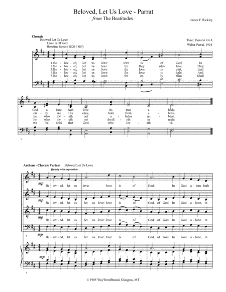 Beloved, Let Us Love (Parrat) - Anthem - Chorale Variant