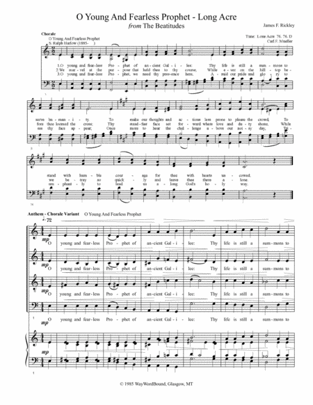 O Young And Fearless Prophet (Long Acre) - Anthem - Chorale Variant