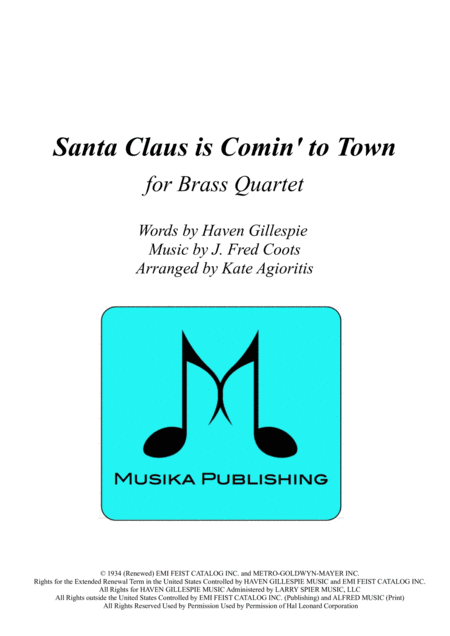 Santa Claus Is Comin' To Town - for Brass Quartet