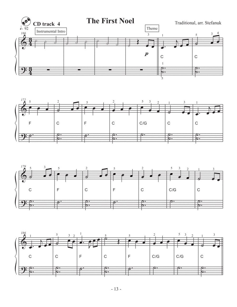 The First Noel, very easy piano