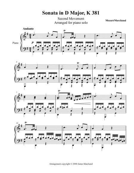 Sonata K381, second movement, for piano solo