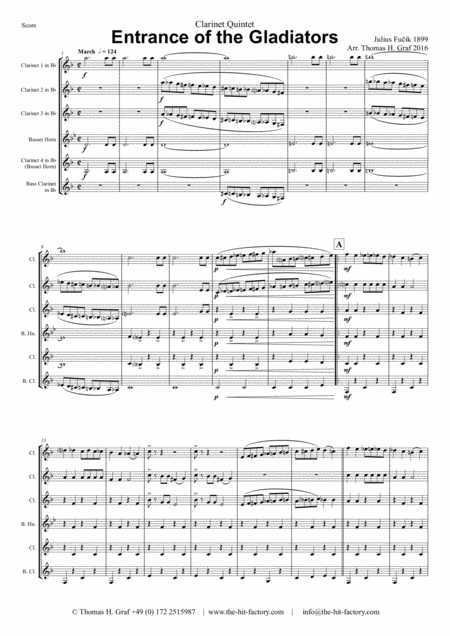 Entrance of the Gladiators (Thunder and Blazes) - Circus March - Clarinet Quintet