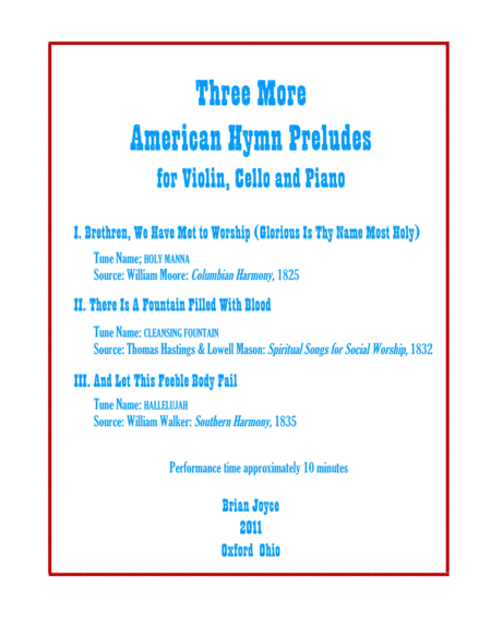Three More American Hymn Preludes for Violin, Cello and Piano