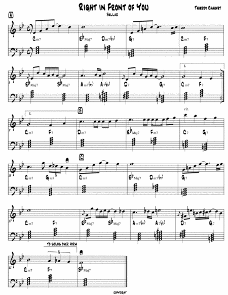 Right in Front of You (Jazz Ballad Lead Sheet)