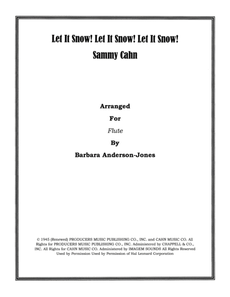 Let It Snow! Let It Snow! Let It Snow! (Flute Duet)