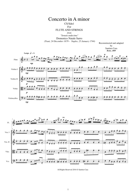 Sarro - Concerto in A minor for Flute and Strings