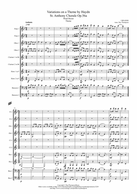 Brahms: Variations on a Theme by Haydn (St. Anthony Chorale) Op.56a (Theme & Variations 1-8) - wind dectet