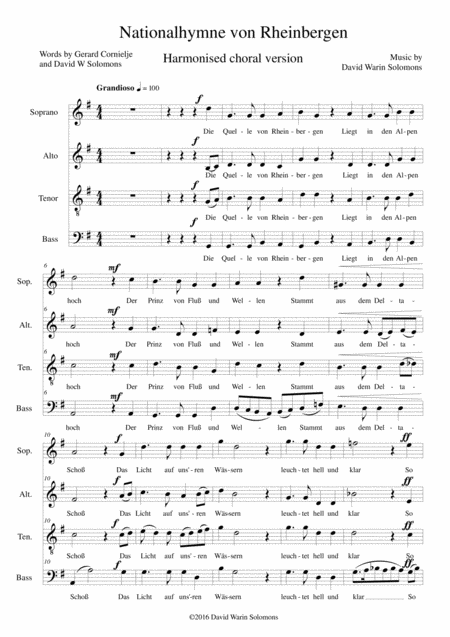 Nationalhymne von Rheinbergen (National Anthem of Rheinbergen) for Harmonised choir a cappella