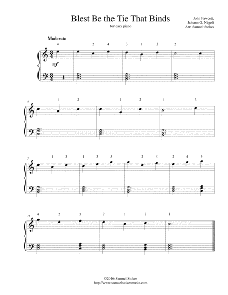 Blest Be the Tie That Binds - for easy piano