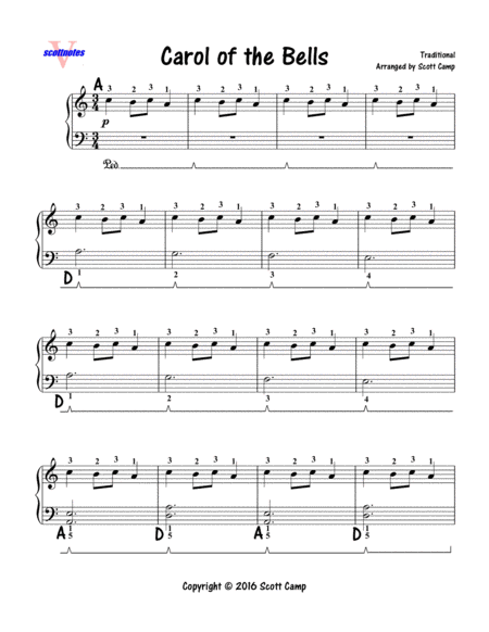 Carol of the Bells (PRIMER LEVEL for 1st Year Students)