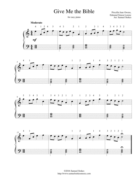 Give Me the Bible - for easy piano