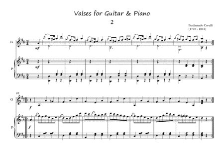 Valses for Guitar and Piano duet