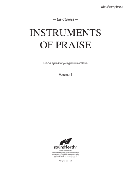 Instruments of Praise, Vol. 1: Alto Saxophone - Insert only