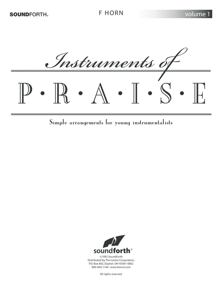 Instruments of Praise, Vol. 1: F Horn - Insert only