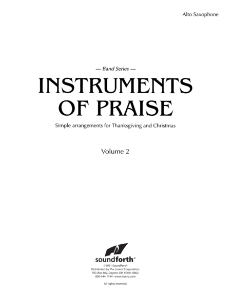 Instruments of Praise, Vol. 2: Alto Saxophone - Insert only