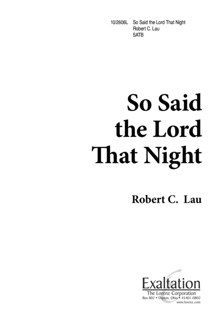 So Said the Lord That Night