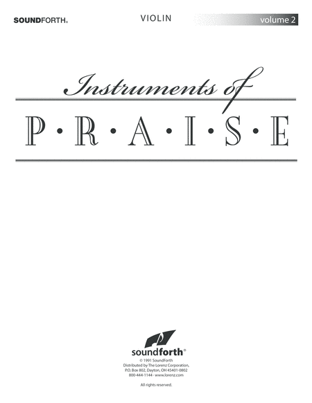 Instruments of Praise, Vol. 2: Violin - Insert only
