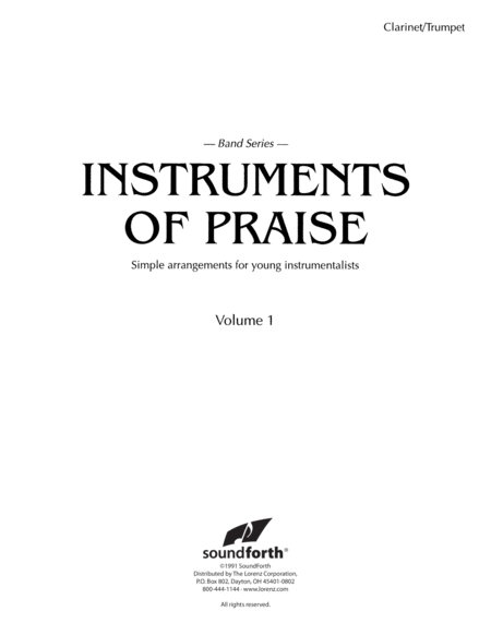 Instruments of Praise, Vol. 1: Clarinet/Trumpet - Insert only