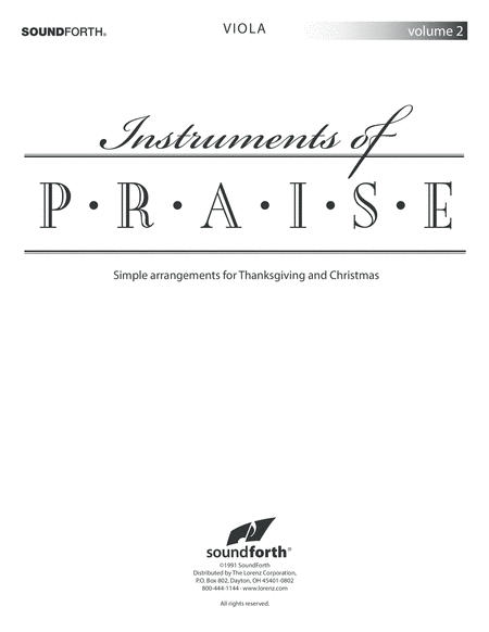 Instruments of Praise, Vol. 2: Viola - Insert only