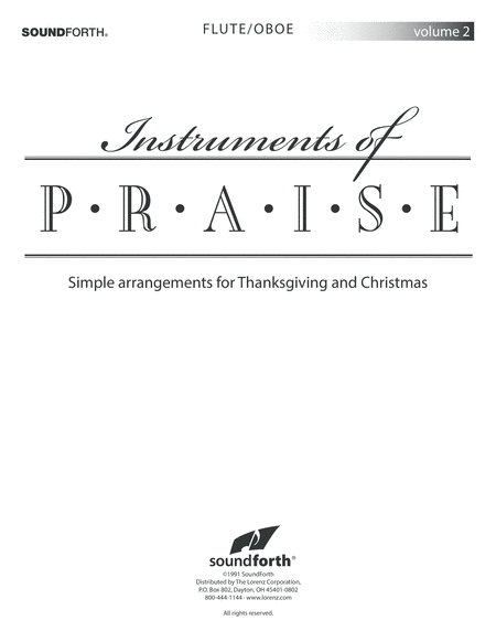 Instruments of Praise, Vol. 2: Flute/Oboe - Insert only