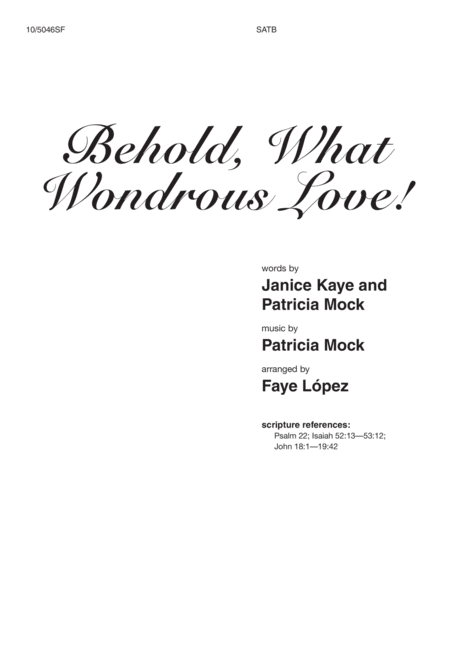 Behold, What Wondrous Love!