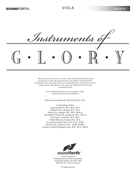 Instruments of Glory, Vol. 1 - Viola