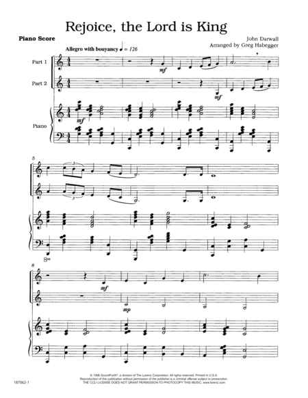 Rejoice, the Lord Is King - Clarinet Duet