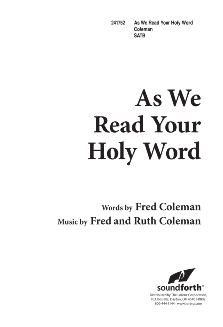 As We Read Your Holy Word