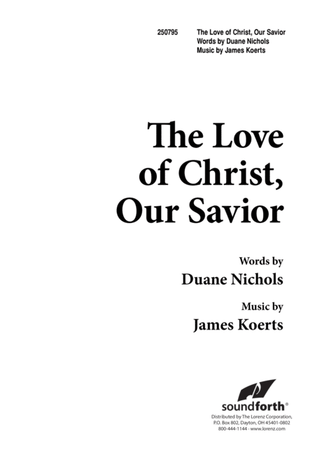 The Love of Christ, Our Savior
