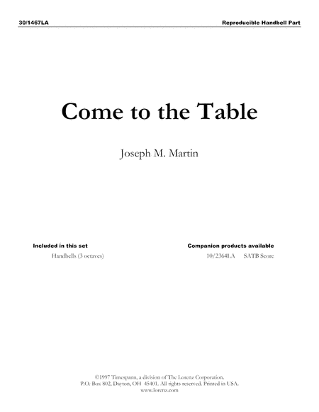 Come to the Table - Handbell (Reproducible)