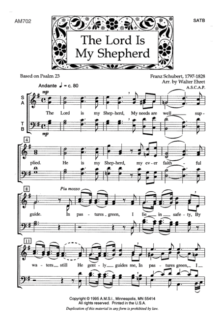 the lord is my shepherd sheet music pdf