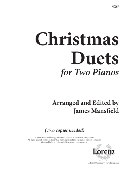 Christmas Duets for Two Pianos