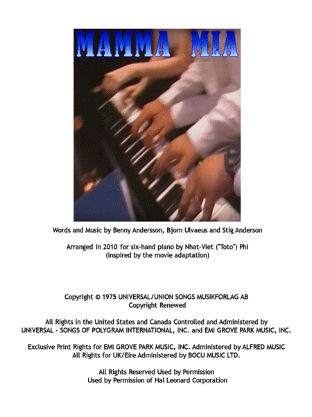 Mamma Mia 6-hand piano arrangement